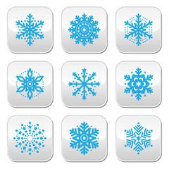 Snowflakes, winter blue vector buttons set