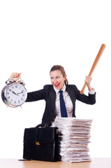 Angry woman with baseball bat under stress missing deadline