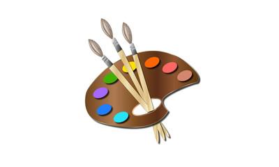 Paleta de colores en madera