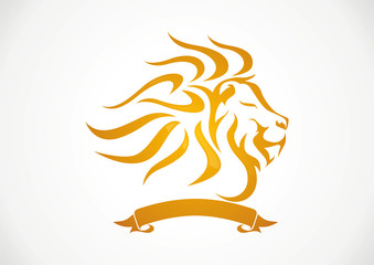Lion strength and tape brand concept logo vector