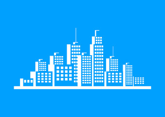 White city icon on blue background