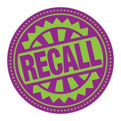 Abstract stamp or label with the text Recall