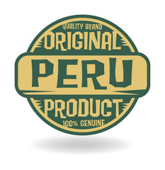 Abstract stamp with text Original Product of Peru