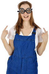 Lustiger Handwerker mit Schutzbrille