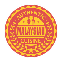 Abstract stamp with the text Authentic Malaysian Cuisine