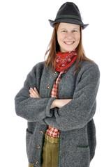 Frau in bayerischer Kleidung zum Oktoberfest