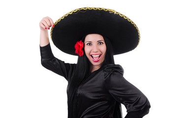Mexican woman isolated on the white background