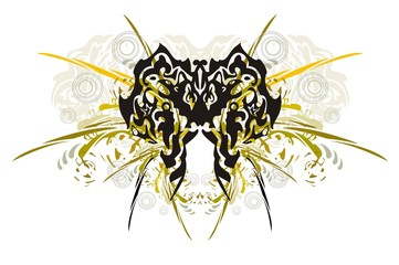 Tribal butterfly with splashes