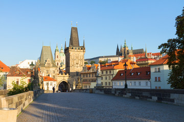 Gate tower and Charles bridge, Prague