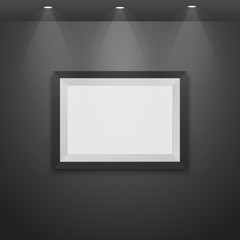 Realistic picture frame  the wall with lamps