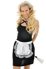 Blonder Twen als French Maid verkleidet