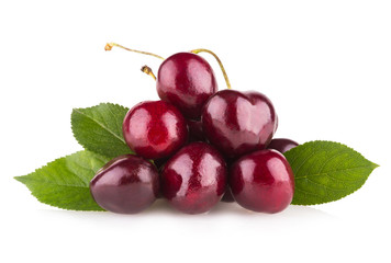 ripe cherries isolated on white background