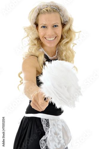 canvas print picture Twen in French Maid Kostüm hält Staubwedel