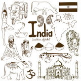 Fototapety Collection of India icons