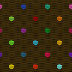 Seamless knitted pattern with polka dot