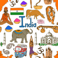 Sketch India seamless pattern