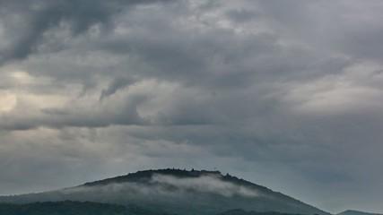Dramatic sky above the Petersberg near Bonn, Germany