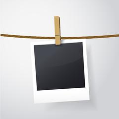 blank photo frame on rope