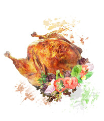 Watercolor Image Of  Roasted Turkey