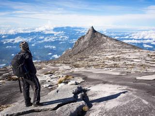 Climber at the Top of Mount Kinabalu, Sabah, Malaysia