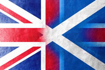 Scotland and United Kingdom Flag painted on leather texture
