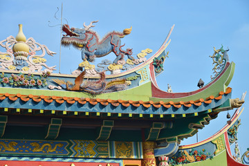 Kirin And Phoenix Statues On The Roof Of A Chinese Temple