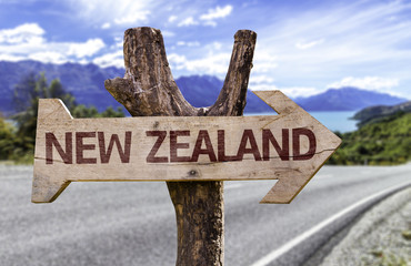 New Zealand wooden sign with landscape background