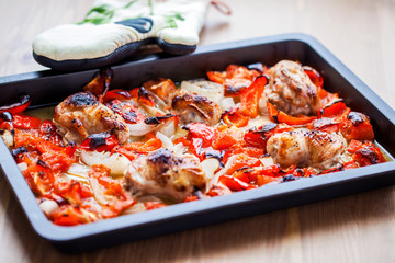 chicken with oven-roasted ratatouille