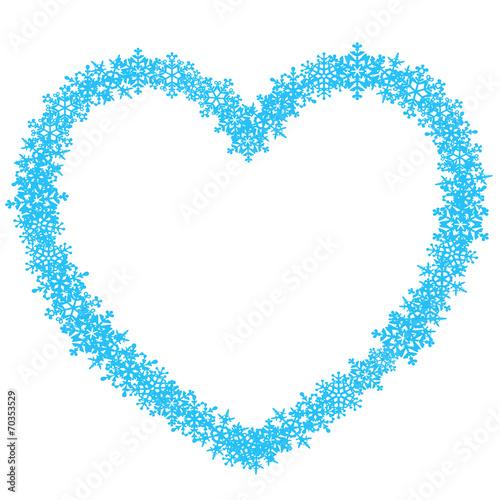 GamesAgeddon - Herzförmiger Rahmen aus blauen Schneeflocken – Vektor ...