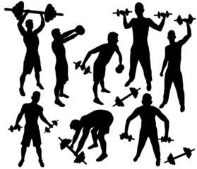 Silhouettes of training with dumbbells