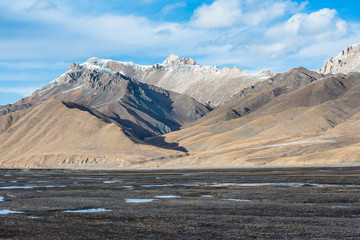 Beautiful Tibetan landscape with frozen lakes, snowy mountains