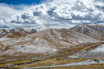 Astonishing Tibetan cloudy sky and high altitude snowy mountains