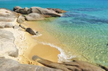 Small deserted sandy beach on Sithonia, Chalkidiki, Greece