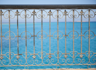 Abstract metal railing pattern