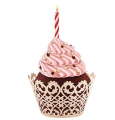 Birthday cupcake. Illustration
