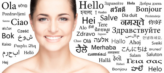 Portrait of a woman on a background with different languages