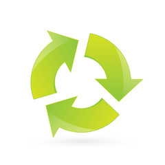 Glossy green recycle icon, vector illustration