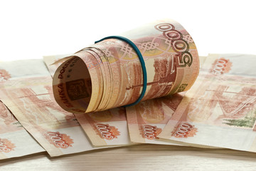Folded five thousandths rouble bills