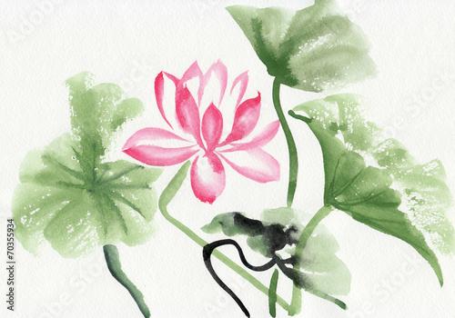 Deurstickers Lotusbloem Lotus flower watercolor painting