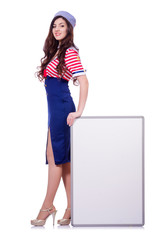 Young woman with blank board on white