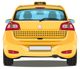 Vector Car - Back view - Taxi - with visible interior