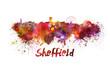 Sheffield skyline in watercolor
