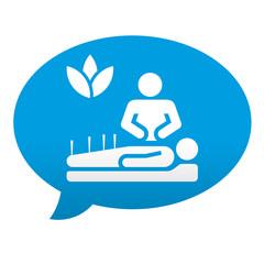 Etiqueta tipo app azul comentario simbolo acupuntura