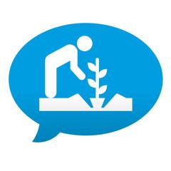 Etiqueta tipo app azul comentario simbolo agricultura