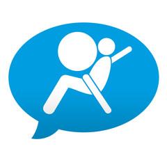 Etiqueta tipo app azul comentario simbolo airbag