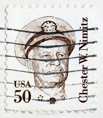 Stamp printed in the United States of Chester W. Nimitz