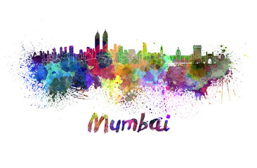 Mumbai skyline in watercolor