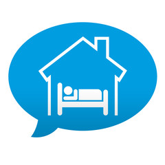 Etiqueta tipo app azul comentario simbolo albergue