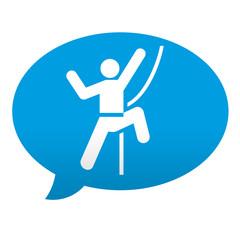 Etiqueta tipo app azul comentario simbolo escalador