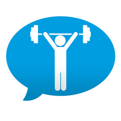 Etiqueta tipo app azul comentario simbolo alterofilia